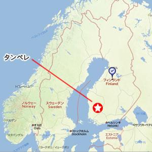 北欧はフィンランドにあるタンペレの地図