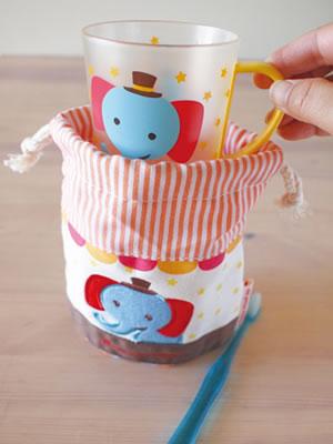デコレ(DECOLE)プチシャンブル リトルサーカス コップ袋とプラマグカップ使用画像