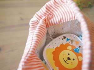 デコレ(DECOLE)プチシャンブル リトルサーカス タイトランチBOX(1段)と保存ランチ巾着の使用画像