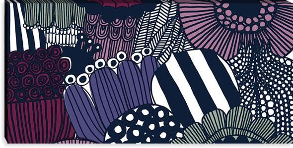 マリメッコ ファブリックパネル シィールトラプータルハ(Siirtolapuutarha)600×1200×30mm【北欧雑貨/北欧生地】セピアの画像