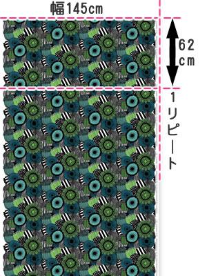 マリメッコ(marimekko)ピエニ シィールトラプータルハ(Pieni Siirtolapuutarha)グリーンのファブリック(生地)全体画像
