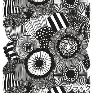 マリメッコ(marimekko)シィールトラプータルハ(Siirtolapuutarha)ブラックのファブリック(生地)全体画像