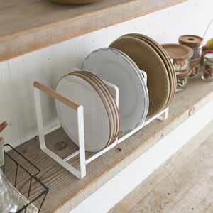 ディッシュラック トスカ ワイドL ホワイト【キッチン収納/おしゃれ】の上部全体画像