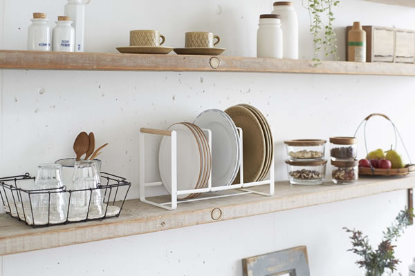 ディッシュラック トスカ ワイドL ホワイト【キッチン収納/おしゃれ】の使用画像