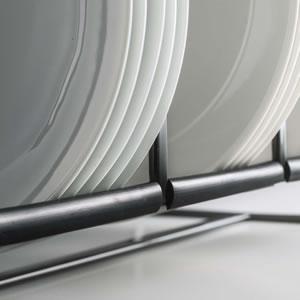 ディッシュラック タワー ワイド【キッチン収納/おしゃれ】ブラックのストッパー詳細画像