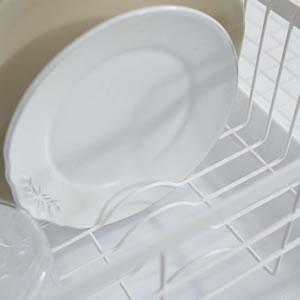 水切りバスケット トスカ ホワイト【キッチン収納/おしゃれ】お皿収納画像