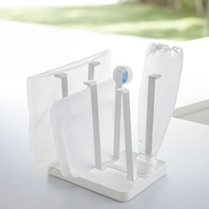 伸縮水切りラック タワー【キッチン収納/おしゃれ】ホワイトのディスプレイ画像