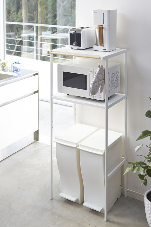 ゴミ箱上ラック タワー【キッチン収納/おしゃれ】ホワイトの使用画像